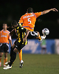 28 March 2007: Houston's Ryan Cochrane (5) is able to control the ball despite the challenge from the Charleston defender. The Houston Dynamo tied the Charleston Battery 1-1 at Blackbaud Stadium in Charleston, South Carolina in a Carolina Challenge Cup preseason match.