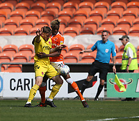 Fleetwood Town's Ashley Eastham and Blackpool's Armand Gnanduillet<br /> <br /> Photographer Stephen White/CameraSport<br /> <br /> The EFL Sky Bet League One - Blackpool v Fleetwood Town - Monday 22nd April 2019 - Bloomfield Road - Blackpool<br /> <br /> World Copyright © 2019 CameraSport. All rights reserved. 43 Linden Ave. Countesthorpe. Leicester. England. LE8 5PG - Tel: +44 (0) 116 277 4147 - admin@camerasport.com - www.camerasport.com