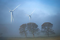 04/12/18<br /> <br /> Wind turbines are shrouded in early morning mist near Carsington, Derbyshire.<br /> <br /> <br /> All Rights Reserved: F Stop Press Ltd. +44(0)7765 242650  www.fstoppress.com www.rkpphotography.co.uk