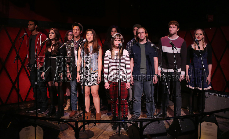 Austin Scott, Brenna Bloom, Marco Ramos, Aliya Stuart, Charlotte Mary Wen, Nyseli Vega, Honey Ribar,  Ben Shuman, Andy Spencer, Chase O'Donnell and Aaron Scheff from the cast of 'One Day - The Musical' performing a sneak peek of the new pop-rock Musical at Rockwood Music Hall on January 28, 2015 in New York City.