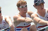Beijing, CHINA, GBR JM4-, , George NASH, during the  2007. FISA Junior World Rowing Championships Shunyi Water Sports Complex. Wed. 08.08.2007  [Photo, Peter Spurrier/Intersport-images]..... , Rowing Course, Shun Yi Water Complex, Beijing, CHINA,