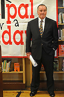 "Mayor Richard M. Daley stands during a press conference for his ""Principal for a Day"" program of corporate sponsorship and volunteerism in the Chicago Public Schools at Talcott Elementary School, 1840 W. Ohio St., in Chicago, Illinois on October 17, 2008."