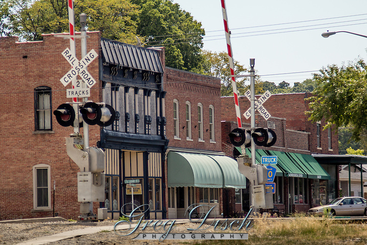 Historic downtown in the Route 66 town of Elkhart Illinois.