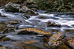 River Water Rushing Over Rocks And Boulders In The Great Smoky Mountains National Park, Tennessee, USA