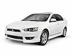 White 2014 Mitsubishi Lancer compact car isolated on white background with clipping path