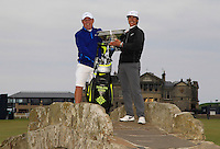 Thorbjorn Olesen (DEN) and his caddie Dominic Bott on the Swilcan Bridge after winning the 2015 Alfred Dunhill Links Championship at the Old Course in St. Andrews in Scotland on 4/10/15.<br />
