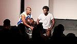 Thaddeus Daniels & Ade Otukoya - Layon Gray's Kings of Harlem - a story about the Harlem Rens who were one of the dominant basketball teams of the 1920's and 1930's - had a special show on September 15, 2015 at St. Luke's Theatre, New York City, New York. The play stars Melvin Huffnagle, Thaddeus Daniels, Ade Otukoya, Lamar Cheston, Delano Barbosa, Jeantique Oriol and Layon Gray.  (Photo by Sue Coflin/Max Photos)