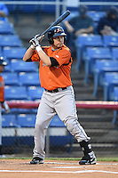 Bowie Baysox third baseman Niuman Romero (20) at bat during a game against the Binghamton Mets on August 3, 2014 at NYSEG Stadium in Binghamton, New York.  Bowie defeated Binghamton 8-2.  (Mike Janes/Four Seam Images)