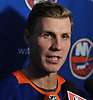 Casey Cizikas of the New York Islanders speaks with reporters during the organization's Media Day at Northwell Health Ice Center in East Meadow on Thursday, Sept. 13, 2018.