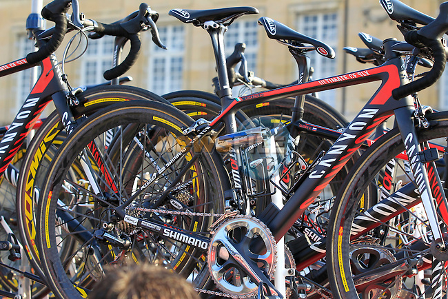 Katusha Team Canyon bikes atop the team car at the sign on in Compiegne before the start of the 111th edition of the 2013 Paris-Roubaix cycle race, France 7th April2013 (Photo by Eoin Clarke 2013)
