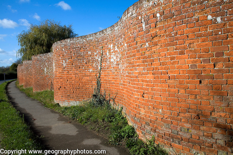 Crinkle crankle traditional brick wall, Easton, Suffolk, England. A wall for growing fruit, dating in England from the mid-18th century, whose curving lines gave added strength, thus doing away with the need for buttressing.