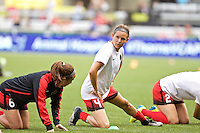 Portland, Oregon - Wednesday June 22, 2016: Portland Thorns FC defender Emily Menges (4) prior to a regular season National Women's Soccer League (NWSL) match at Providence Park.