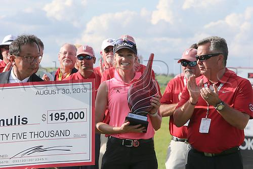 30.08.2015. Prattville, AL, USA.   Kris Tamulis of Naples, Florida, wins the final round of the 2015 Yokohama Tire LPGA Classic at RTJ Golf Trail, Capitol Hill, Senator Course, Prattville, AL.