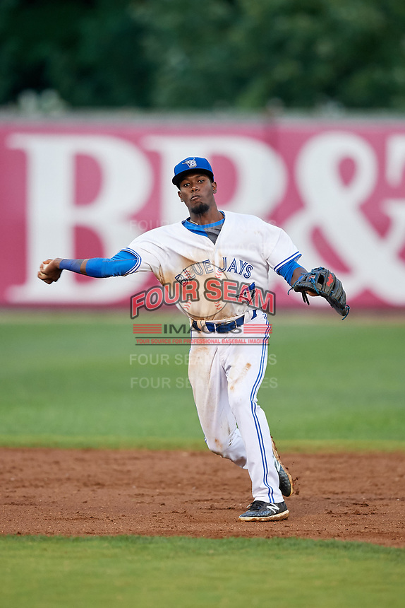 Bluefield Blue Jays shortstop Luis De Los Santos (1) throws to first base during the second game of a doubleheader against the Bristol Pirates on July 25, 2018 at Bowen Field in Bluefield, Virginia.  Bristol defeated Bluefield 5-2.  (Mike Janes/Four Seam Images)