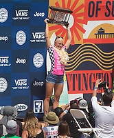 Huntington Beach, CA - Sunday August 06, 2017: Tatiana Weston-Webb during a World Surf League (WSL) Qualifying Series (QS) Championship Final heat in the 2017 Vans US Open of Surfing on the South side of the Huntington Beach pier.