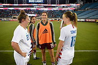 Jacksonville, FL - Thursday April 5, 2018: Savannah McCaskill, Katie Johnson, Emily Sonnett during an International friendly match versus the women's National teams of the United States (USA) and Mexico (MEX) at EverBank Field.