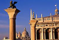 Italy, Venice. The Columns of San Marco and San Teodoro and Santa Maria della Salute. Piazzetta San Marco