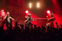 Die Hip-Hop-Gruppe Antilopen Gang aus Duesseldorf, Koeln und Berlin spielte am Samstag den 14. Maerz 2015 im ausverkauften Berliner Club SO36.<br /> Die Band besteht aus den Rappern Koljah Kolerikah (rechts), Panik Panzer (links) und Danger Dan (mitte) und steht beim Toten Hosen-Label JKP unter Vertrag.<br /> 14.3.2015, Berlin<br /> Copyright: Christian-Ditsch.de<br /> [Inhaltsveraendernde Manipulation des Fotos nur nach ausdruecklicher Genehmigung des Fotografen. Vereinbarungen ueber Abtretung von Persoenlichkeitsrechten/Model Release der abgebildeten Person/Personen liegen nicht vor. NO MODEL RELEASE! Nur fuer Redaktionelle Zwecke. Don't publish without copyright Christian-Ditsch.de, Veroeffentlichung nur mit Fotografennennung, sowie gegen Honorar, MwSt. und Beleg. Konto: I N G - D i B a, IBAN DE58500105175400192269, BIC INGDDEFFXXX, Kontakt: post@christian-ditsch.de<br /> Bei der Bearbeitung der Dateiinformationen darf die Urheberkennzeichnung in den EXIF- und  IPTC-Daten nicht entfernt werden, diese sind in digitalen Medien nach &sect;95c UrhG rechtlich geschuetzt. Der Urhebervermerk wird gemaess &sect;13 UrhG verlangt.]