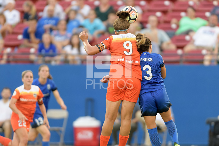 Frisco, TX - Sunday September 03, 2017: Sarah Hagen and Lauren Barnes during a regular season National Women's Soccer League (NWSL) match between the Houston Dash and the Seattle Reign FC at Toyota Stadium in Frisco Texas. The match was moved to Toyota Stadium in Frisco Texas due to Hurricane Harvey hitting Houston Texas.