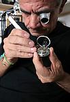 Angelo Mereu fotografato nel suo negozio di via Solferino 22, Angelo Mereu in his workshop at via Solferino © Fulvia Farassino /