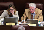 Nevada Assembly Minority Leader Marilyn Kirkpatrick, D-North Las Vegas, and Speaker John Hambrick, R-Las Vegas, work in committee at the Legislative Building in Carson City, Nev., on Wednesday, March 18, 2015. <br /> Photo by Cathleen Allison