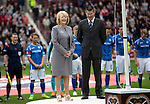 Hearts v St Johnstone...02.08.15   SPFL Tynecastle, Edinburgh<br /> Hearts owner Ann Budge and Neil Doncaster unveil the Scottish First Division flag<br /> Picture by Graeme Hart.<br /> Copyright Perthshire Picture Agency<br /> Tel: 01738 623350  Mobile: 07990 594431