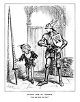 "Outfit for St. George. ""And what about this, Sire?"" (cartoon showing Mr Punch arming St. George as conscription is introduced for the British army in 1939)"