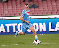 Naples's  Marek Hamsik controls the ball  during Italian Serie A soccer match against Genoa at the San Paolo  stadium in Naples April 7, 2013