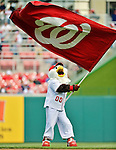 12 April 2012: Washington Nationals Mascot Screech entertains the fans during Opening Day pre-game festivities prior to a game against the Cincinnati Reds at Nationals Park in Washington, DC. The Nationals defeated the Reds 3-2 in 10 innings to take the first game of their 4-game series. Mandatory Credit: Ed Wolfstein Photo