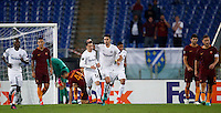 Calcio, Europa League, Gguppo E: Roma vs Austria Vienna. Roma, stadio Olimpico, 20 ottobre 2016.<br /> Austria Wien's Dominik Prokop, third from left, is congratulated by teammates after scoring during the Europa League Group E soccer match between Roma and Austria Wien, at Rome's Olympic stadium, 20 October 2016. The game ended 3-3.<br /> UPDATE IMAGES PRESS/Isabella Bonotto