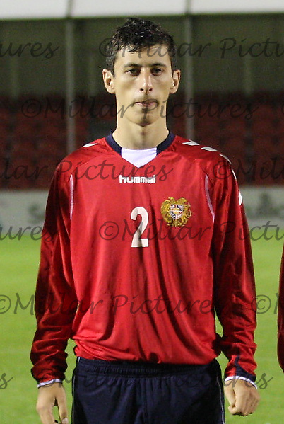 Vaspurak Minasyan in the Armenia v Switzerland UEFA European Under-19 Championship Qualifying Round match at New Douglas Park, Hamilton on 11.10.12.