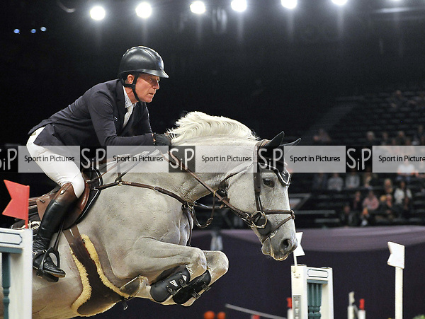 "Michael Whitaker (GBR) riding ""Valmy De La Lande"". International showjumping. Grandstand welcome stakes. Horse of the year show (HOYS). National Exhibition Centre (NEC). Birmingham. UK. 05/10/2018. ~ MANDATORY CREDIT Garry Bowden/SIPPA - NO UNAUTHORISED USE - +44 7837 394578"