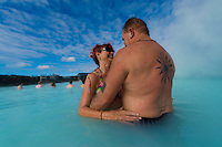 Ian and Joan Smith bathing in the Blue Lagoon in Reykjavik, Iceland. Hurtigruten cruise.