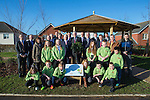 First Minister Carwyn Jones visiting Stebonheath Primary School in Llanelli alongside Bob Ayling &ndash; Chairman Welsh Water, Jonathan Taylor &ndash; Vice President European Investment Bank,  Headmaster Julian Littler, Keith Davies AM &amp; councillor Colin Evans with pupils and invited guests who have planted a tree to mark the completion of the Rainscape projected installed by Welsh Water at the school.<br /> <br /> 08.01.15<br /> &copy;Steve Pope -FOTOWALES