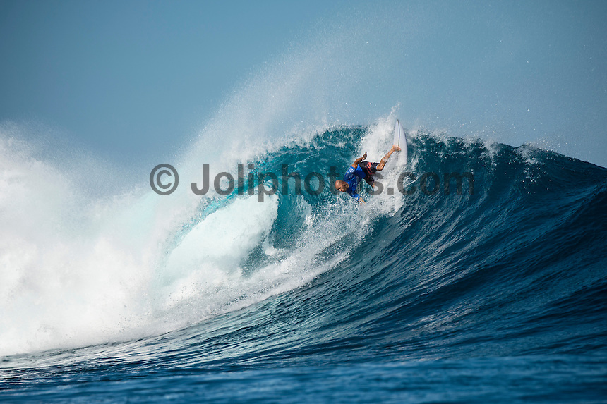 Namotu Island Resort, Nadi, Fiji (Wednesday, June 15 2016):  Kelly Slater (USA) - The Fiji Pro, stop No. 5 of 11 on the 2016 WSL Championship Tour, was recommenced today at Cloudbreak with a new SSW swell in the 6' plus range. The contest had endured a long spell of layaways due to small conditions but it roared back to life with the new swell which is expected to continue for the rest of the waiting period.<br /> The hat of the day was between Taj Burrow (AUS) who has retired for the pro tour and John John Florence (HAW) who is being tipped as a World Champion this year.<br /> Both surfers were counting two 9 pt plus rides in their scores but it was Florence who scraped through finishing Burrows 18 year career on a high.<br /> Photo: joliphotos.com