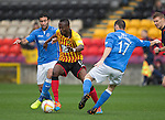 Partick Thistle v St Johnstone....25.10.14   SPFL<br /> Abdul Osman is closed down by Simon Lappin and James McFadden<br /> Picture by Graeme Hart.<br /> Copyright Perthshire Picture Agency<br /> Tel: 01738 623350  Mobile: 07990 594431