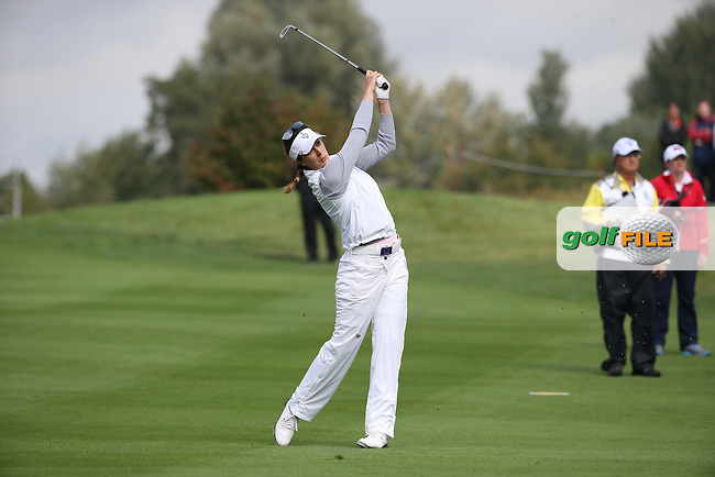 Sandra Gal (GER) plays second shot to the 8th during Saturday morning's Foursomes, at The Solheim Cup 2015 played at Golf Club St. Leon-Rot, Mannheim, Germany.  19/09/2015. Picture: Golffile | David Lloyd<br /> <br /> All photos usage must carry mandatory copyright credit (&copy; Golffile | David Lloyd)