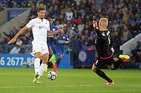 Pictured: Fernando Llorente of Swansea City fails to score against Kasper Schmeichel of Leicester City Saturday 27 August 2016<br /> Re: Swansea City FC v Leicester City FC Premier League game at the King Power Stadium, Leicester, England, UK