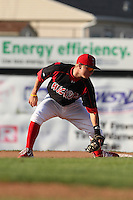 Batavia Muckdogs shortstop Matt Valaika (8) during the first game of a double header vs. the Williamsport Crosscutters at Dwyer Stadium in Batavia, New York;  August 25, 2010.   Batavia defeated Williamsport 4-3.  Photo By Mike Janes/Four Seam Images