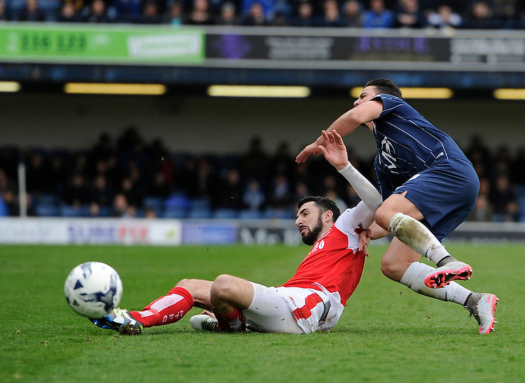 Fleetwood Town's Conor McLaughlin battles for possession with Southend United's Stephen McLaughlin<br /> <br /> Photographer Ashley Western/CameraSport<br /> <br /> Football - The Football League Sky Bet League One - Southend United v Fleetwood Town - Saturday 9th April 2016 - Roots Hall - Southend <br /> <br /> &copy; CameraSport - 43 Linden Ave. Countesthorpe. Leicester. England. LE8 5PG - Tel: +44 (0) 116 277 4147 - admin@camerasport.com - www.camerasport.com