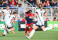 Boyds, MD - Saturday May 07, 2016: Washington Spirit forward Crystal Dunn (19) moves past Portland Thorns FC defender Emily Menges (4) during a regular season National Women's Soccer League (NWSL) match at Maureen Hendricks Field, Maryland SoccerPlex. Washington Spirit tied the Portland Thorns 0-0.