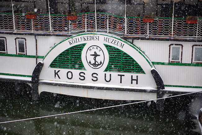 Kossuth boat water wheel in winter snow, Budapest Hungary stock photos