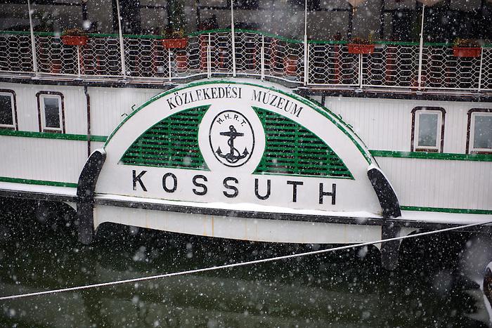 Kossuth boat water wheel in winter snow, Budapest Hungary stock photos
