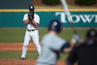 Penn State Nittany Lions relief pitcher Tucker Triebold (27) looks to his catcher for the sign against the Xavier Musketeers at Coleman Field at the USA Baseball National Training Center on February 25, 2017 in Cary, North Carolina. The Musketeers defeated the Nittany Lions 10-4 in game one of a double header. (Brian Westerholt/Four Seam Images)