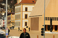 View along Vaduz's main pedestrianised street, with the new parliament building on the right. Despite this monument to democracy, the royal family still have the power to veto laws, dissolve parliament and appoint judges. Liechtenstein has become a major tax haven, whose opaque banking laws are said to aid fraud, money laundering and tax evasion. There are an estimated 75,000 companies registered in the country, twice that of the population.