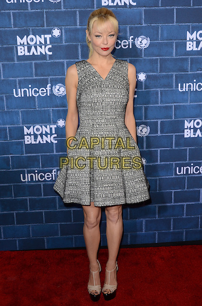 Charlotte Ross.Montblanc Hosts Pre-Oscar Charity Brunch Benefiting UNICEF held at Hotel Bel-Air, Los Angeles, California, USA..February 23rd, 2013.full length  grey gray  print sleeveless dress platform sandals shoes   .CAP/ADM/TW.©Tonya Wise/AdMedia/Capital Pictures