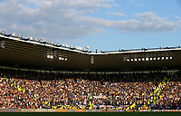 Leeds United fans watch on during the second half<br /> <br /> Photographer Alex Dodd/CameraSport<br /> <br /> The EFL Sky Bet Championship Play-off  First Leg - Derby County v Leeds United - Thursday 9th May 2019 - Pride Park - Derby<br /> <br /> World Copyright © 2019 CameraSport. All rights reserved. 43 Linden Ave. Countesthorpe. Leicester. England. LE8 5PG - Tel: +44 (0) 116 277 4147 - admin@camerasport.com - www.camerasport.com