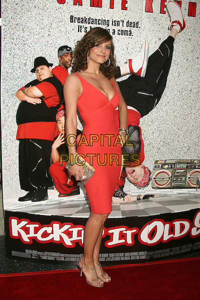 "MARIA MENOUNOS .""Kickin' It Old Skool"" Los Angeles Premiere Party at the Music Box Theatre, Hollywood, California, USA..April 25th, 2007.full length cleavage pink red peach top dress gold clutch purse.CAP/ADM/BP.©Byron Purvis/AdMedia/Capital Pictures"