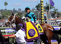 DEL MAR, CA - NOVEMBER 04: Joel Rosario, aboard Stormy Liberal #4 won the Breeders' Cup Turf Sprint race on Day 2 of the 2017 Breeders' Cup World Championships at Del Mar Racing Club on November 4, 2017 in Del Mar, California. (Photo by Sue Kawczynski/Eclipse Sportswire/Breeders Cup)