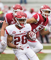 Hawgs Illustrated/BEN GOFF <br /> Devonte Bausley, Arkansas running back, carries in the fourth quarter Saturday, April 6, 2019, during the Arkansas Red-White game at Reynolds Razorback Stadium.